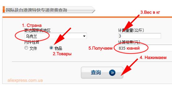 Официальные тарифы ЕМС в Китае, стоимость доставки