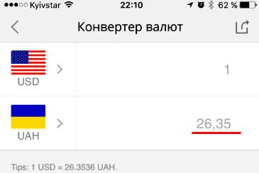 Конвертер валют в мобильном приложении Алиэкспресс