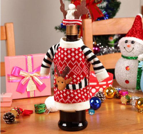 Украсить, одеть бутылку вина, шампанское на Новый год.