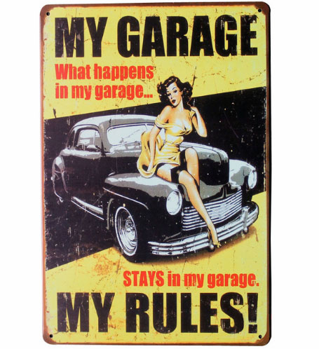 MY GARAGE MY RULES Tin Sign Vintage Decor Plate. Retro Vintage Metal Tin Sign