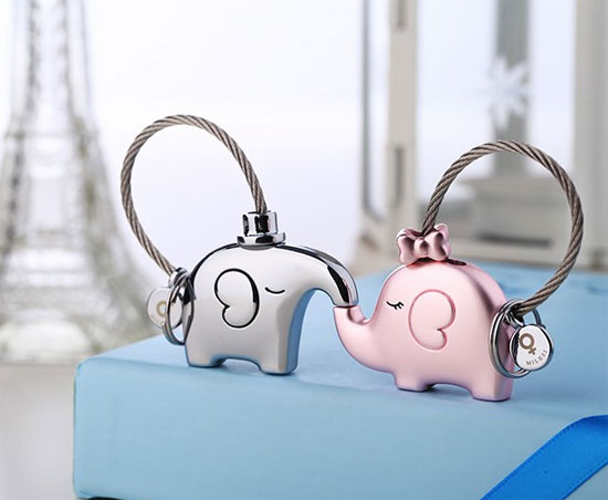 A pair of matching keychains for elephant lovers
