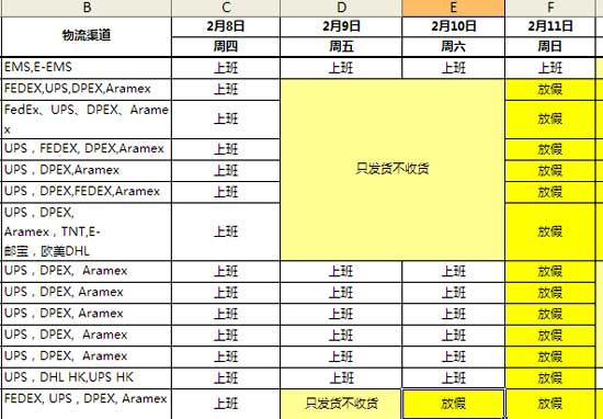 графики работы служб доставки в Китае в период празднования Китайского нового года