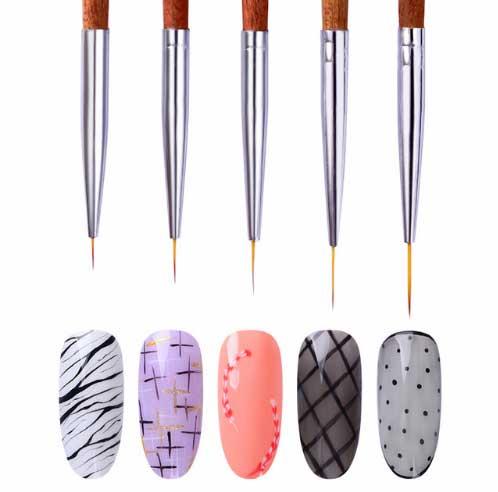 Очень тонкие кисточки для дизайна ногтей