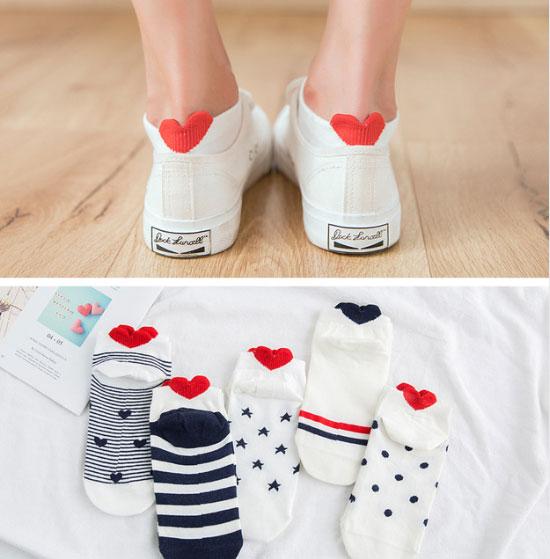 Короткие хлопковые носки с сердечками