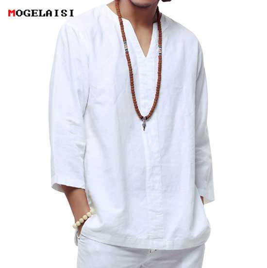 Мужская льняная рубашка Купить на AliExpress